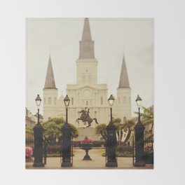 New Orleans Looking Through Jackson Square Throw Blanket