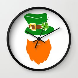Leprechaun Beard Green Top Hat Shamrock St Patricks Wall Clock