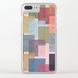 Vintage Colorful Squares Clear iPhone Case