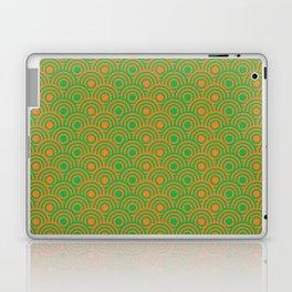 op art pattern retro circles in green and orange Laptop & iPad Skin