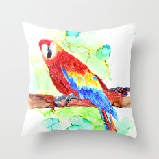 Watercolored Parrot Throw Pillow