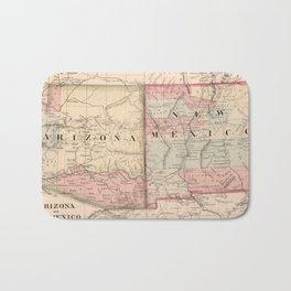 Vintage New Mexico and Arizona Map (1868) Bath Mat