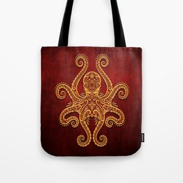 Intricate Red and Yellow Octopus Tote Bag