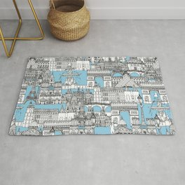 Paris toile cornflower blue Rug