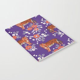 Tiger Clemson purple and orange florals university fan variety college football Notebook