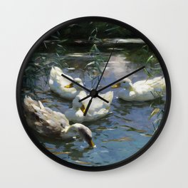 Four ducks in the pond by Alexander Koester, 1932 Wall Clock
