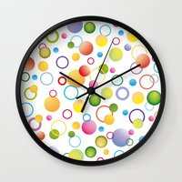 circles Wall Clocks featuring Circles by victimArte