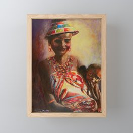 African Mother and Child Framed Mini Art Print
