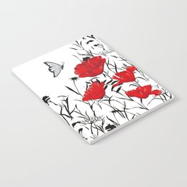 Festive, Poppies and Butterfly, Floral Prints, Red, Black and White Notebook