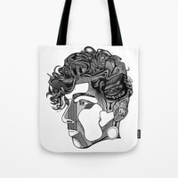 danny haas Tote Bags featuring Danny by Alastair Vanes