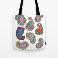 paisley Tote Bags featuring Paisley by WelshPixie