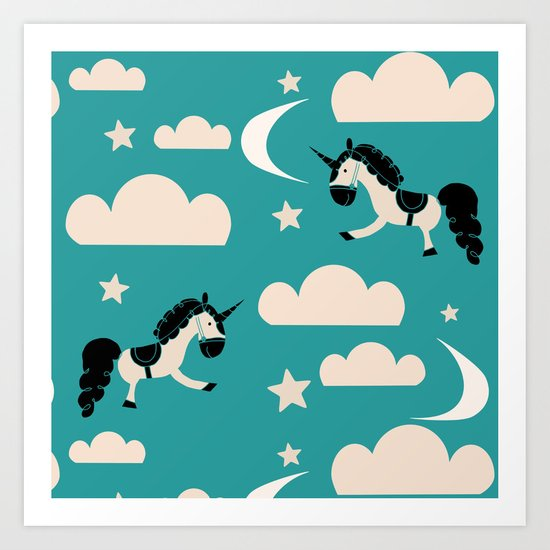 Unicorn Teal Art Print