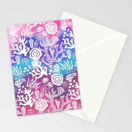 Nautical pink teal violet watercolor coral floral pattern Stationery Cards