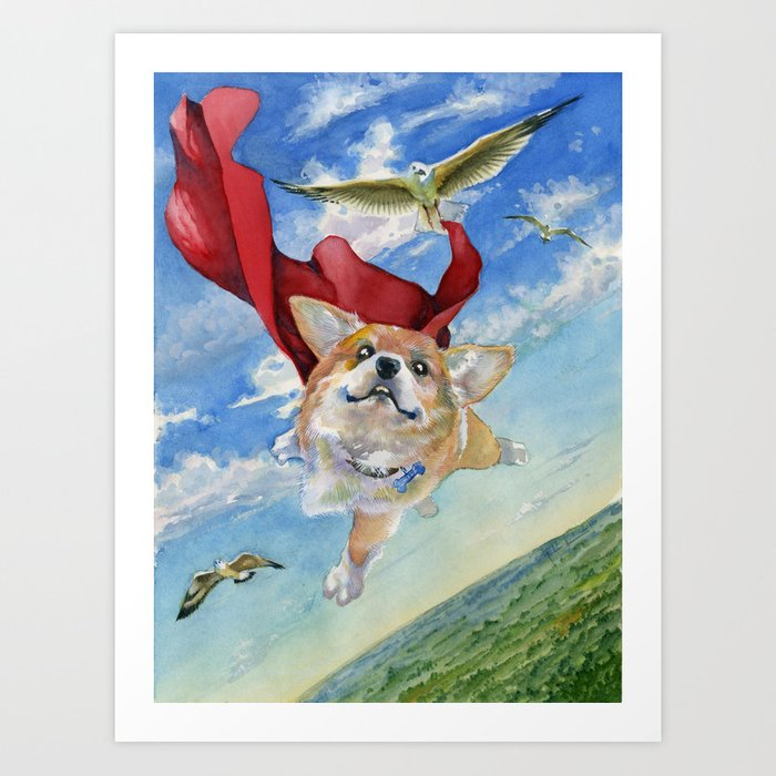Jasper The Flying Corgi Dog Art Print