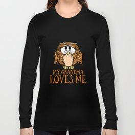 My Grandma Loves Me Owl Hoot Nocturnal Bird Lover Long Sleeve T-shirt