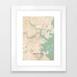 Boston, United States - Vintage Map Framed Art Print