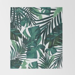 Tropical Jungle Leaves Pattern #1 #tropical #decor #art #society6 Throw Blanket