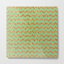 Granny Smith Apple Gold Glitter Chevron Pattern Metal Print