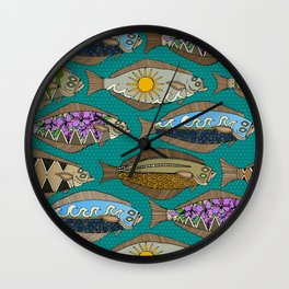 Alaskan halibut teal Wall Clock