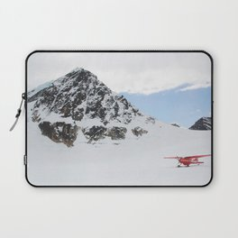 Small Plane Beside a Snow Covered Mountain Laptop Sleeve