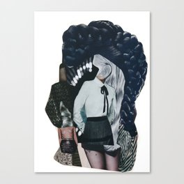 She was all mixed up - a modern, black and white collage by jules tillman Canvas Print