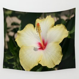 Yellow Hibiscus With Garden Background  Wall Tapestry