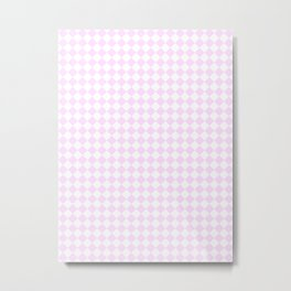 Small Diamonds - White and Pastel Violet Metal Print
