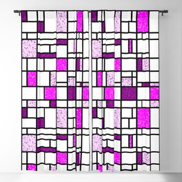 Modern Art Pink and Purple Speckled Grid Pattern Blackout Curtain