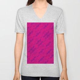 Hipster Purple Skulls Pattern Vector Neon Pink Unisex V-Neck