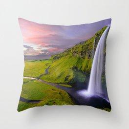 Seljalandsfoss Waterfall, Iceland Throw Pillow