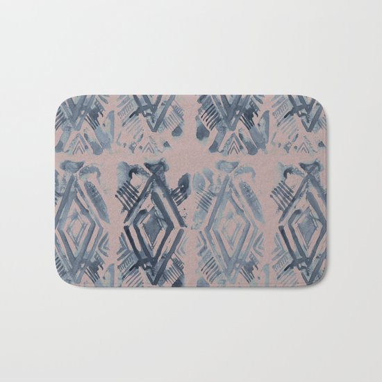 Simply Ikat Ink in Indigo Blue on Clay Pink Bath Mat