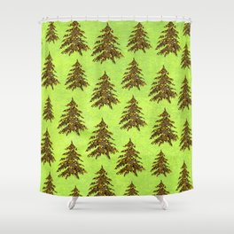 Sparkly Gold Christmas tree on abstract green paper Shower Curtain