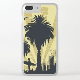 Sunny beach with palm surfer in Hawaii Clear iPhone Case