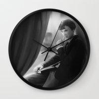 sherlock holmes Wall Clocks featuring Sherlock Holmes by franzkatter