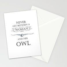 Never get between a woman and her owl Stationery Cards