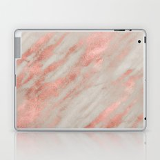 Marble - Rose Gold Marble Foil on White Laptop & iPad Skin