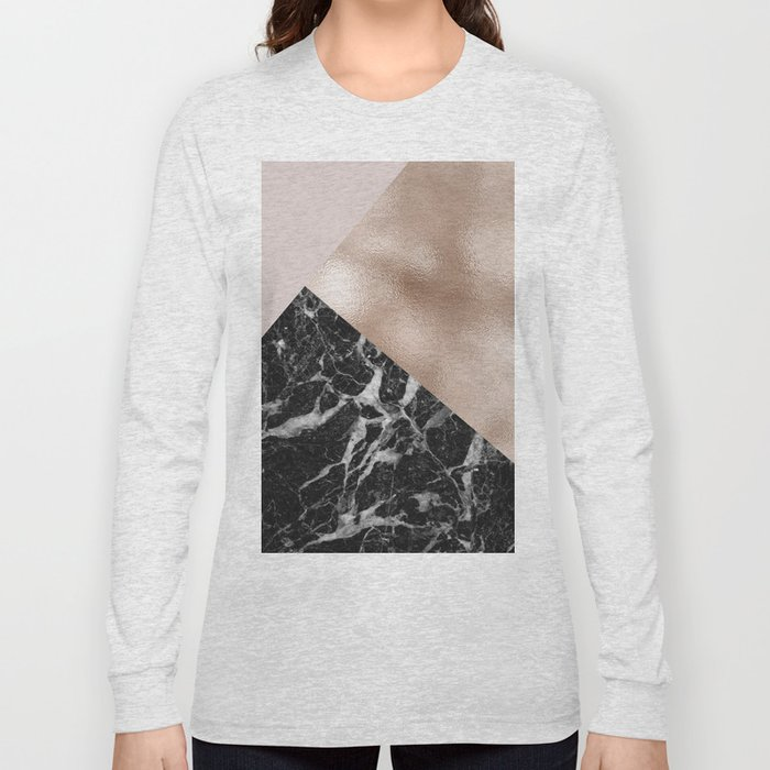 Layered rose gold and black campari marble Long Sleeve T-shirt