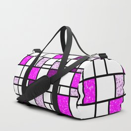 Modern Art Pink and Purple Speckled Grid Pattern Duffle Bag