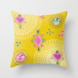 Brooches - yellow Throw Pillow