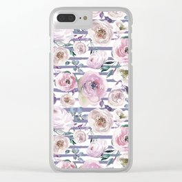 Violet blush pink lilac watercolor floral stripes Clear iPhone Case
