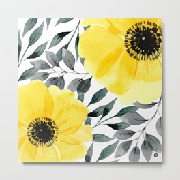 Big yellow watercolor flowers Metal Print