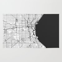 milwaukee Area & Throw Rugs featuring Milwaukee Map Gray by City Art Posters