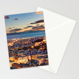 Athens after sunset with a view of the Parthenon on the Acropolis, the Parliament and the Saronic islands in Greece Stationery Cards