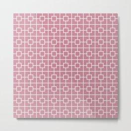Puce Pink Square Chain Pattern Metal Print