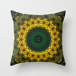 Large Yellow Wildflower Kaleidoscope Art 4 Throw Pillow