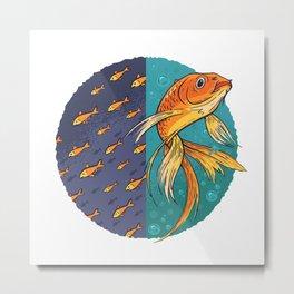 Goldfish & Goldfish School Metal Print