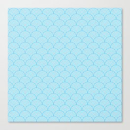 Light Blue Concentric Circle Pattern Canvas Print