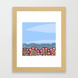 Four Doodle Flowers - Light Blue Pinks Framed Art Print