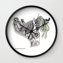 Zentangle Illustration - Peace Dove  Wall Clock