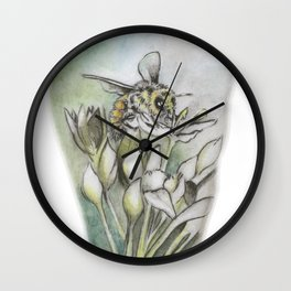 Bee and Flowers by annmariescreations Wall Clock